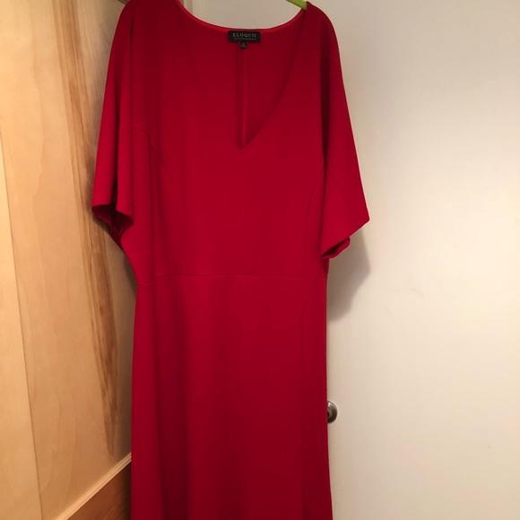 Eloquii Dresses & Skirts - NWT Eloquii red short sleeve midi dress w/ seaming